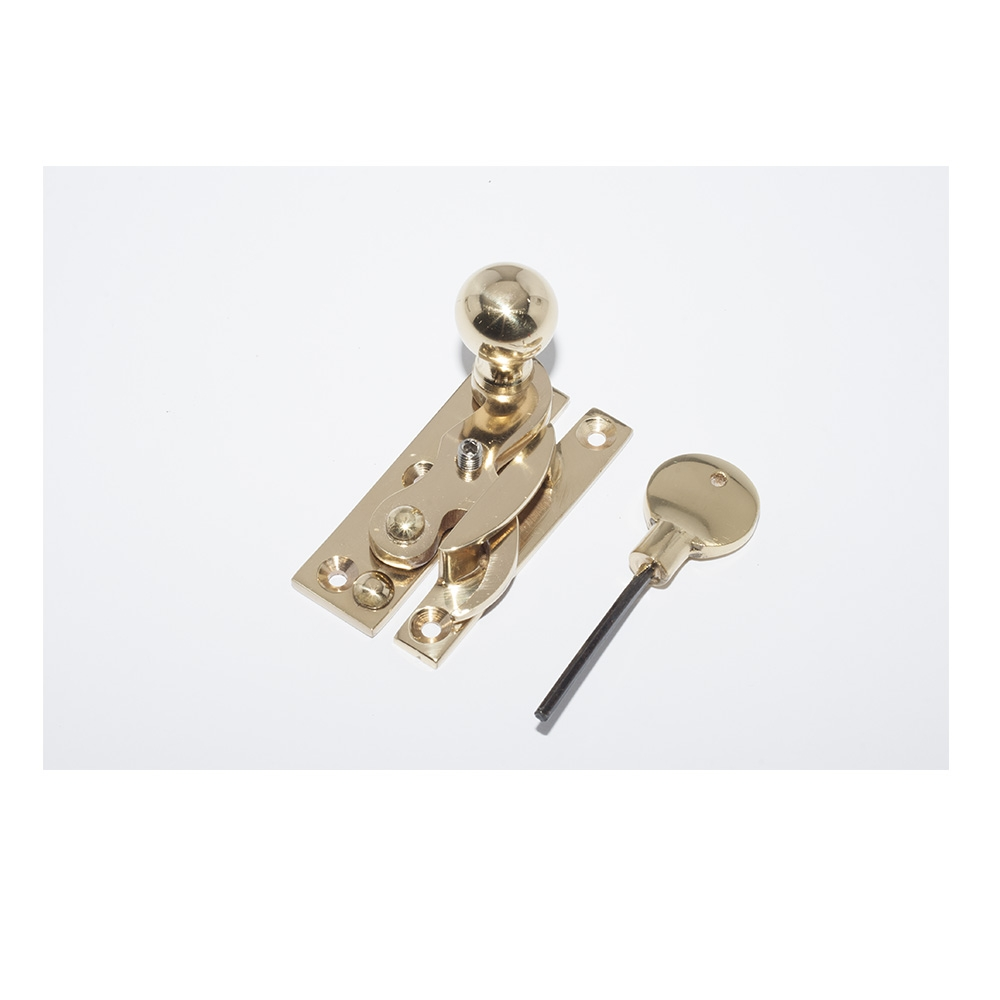 Claw Sash Fastener Locking Narrow Keep Polished Brass