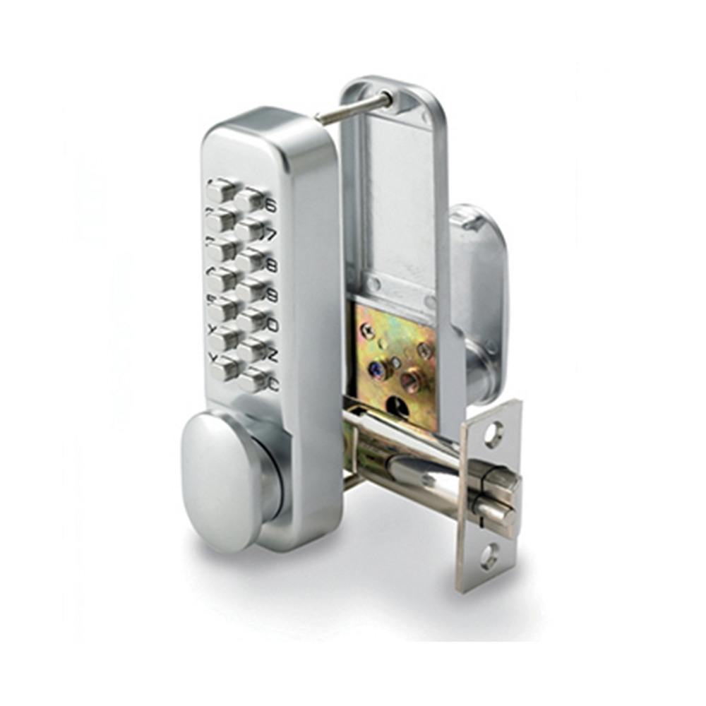 Digital Lock With Hold Open Satin Chrome
