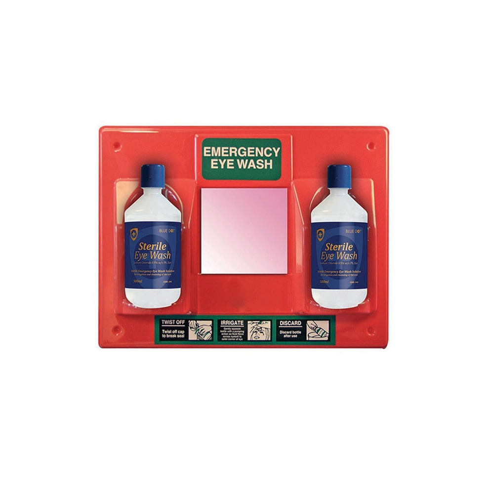 Emergency Eyewash Station - c/w 2 x 500ml Saline Eyewash