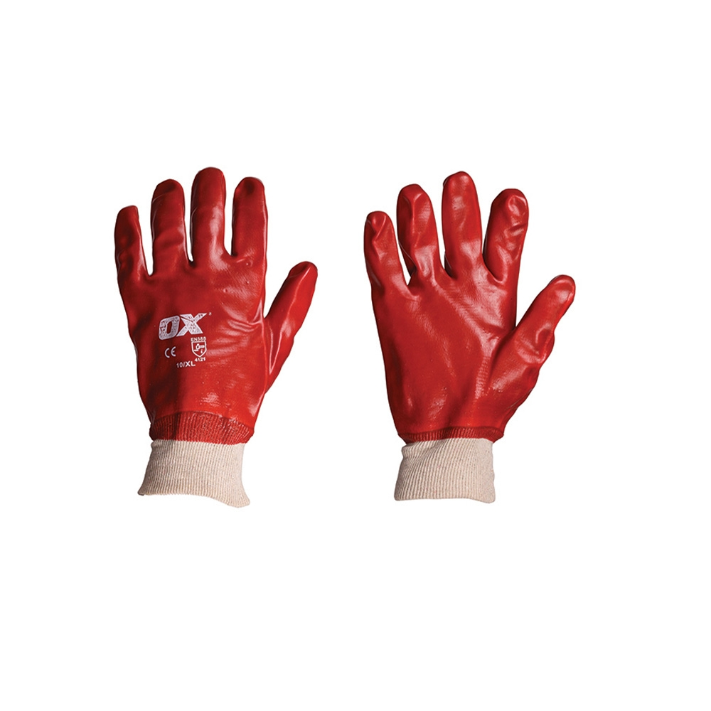 Red PVC Knitwrist Glove