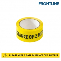 50mm x 33m Yellow/Black Social Distancing Printed Tape