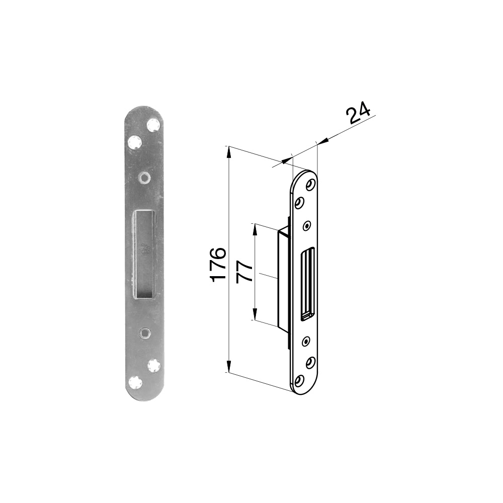 Winkhaus Single Keep with Flush Faceplate - Radius End  (44 & 57mm Doors)