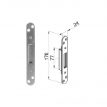Winkhaus Single Keep with Flush Faceplate - Radius End  (44 & 56mm Doors)