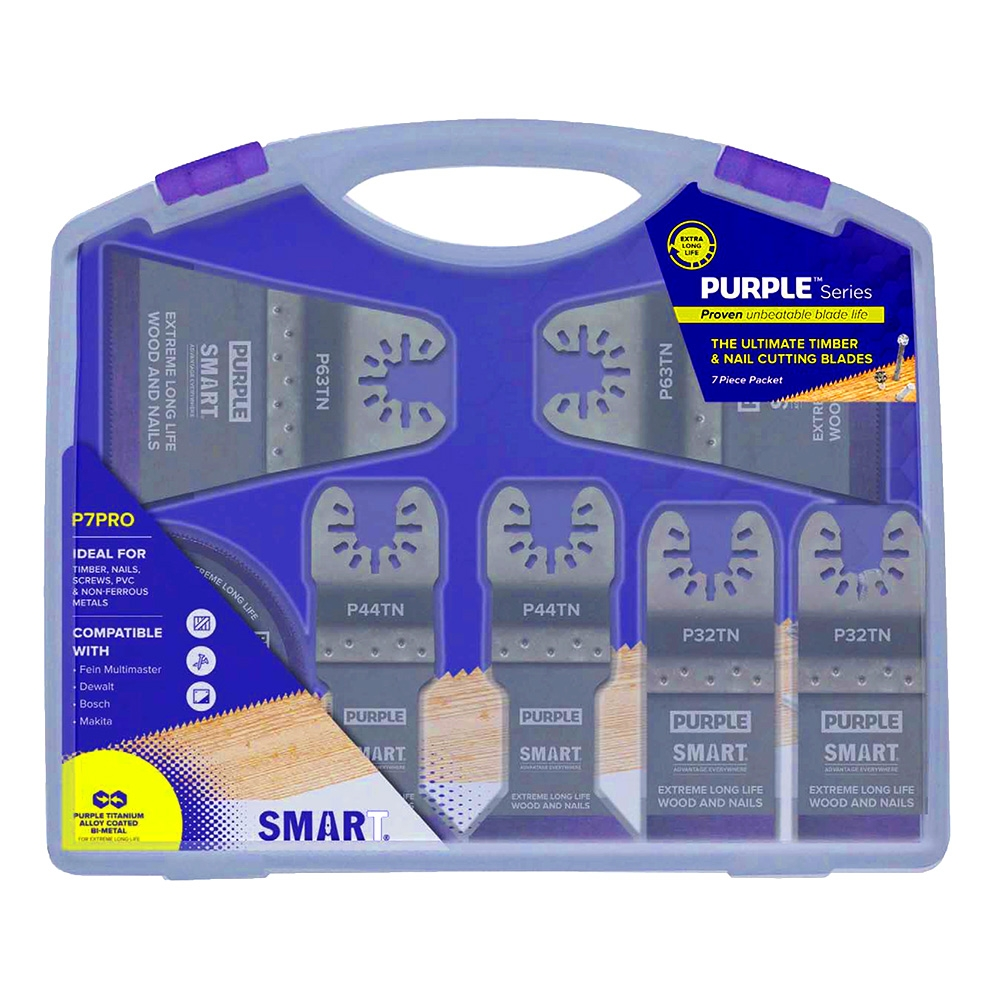 SMART Purple Titanium 7 Piece Alloy Bi-metal Blade Set