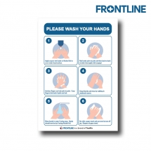 Frontline 297x210mm Foamex S/A Lam Sign CV-19'Hand Washing'